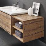 Επιπλο μπάνιου με νεροχύτη corian ξύλινα ντουλάπια και ράφια