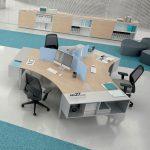 Επιπλα γραφείο σε χρώμα γκρι και θαλασσί