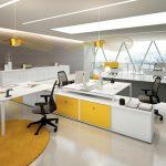 Επιπλα γραφείου σε χρώμα λευκό και κίτρινο