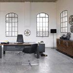 Μοντέρνο καφέ σκούρο γραφείο με ντουλάπια