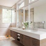 Επιπλο για διπλό νεροχύτη μπάνιου με ξύλο και λευκό corian